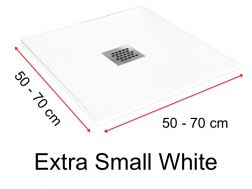 Shower tray 65 cm in resin,  white extra small