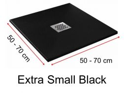Shower tray 75 cm in resin,  black extra small