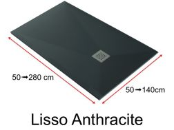Shower tray 140 cm, in resin, small size and big size extra flat, Lisso anthracite