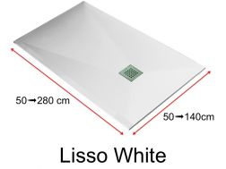 Shower tray 150 cm, in resin, small size and big size extra flat, Lisso white