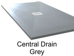 Shower tray 130 cm in resin, central evacuation grey
