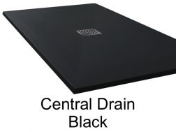 Shower tray 170 cm in resin, central evacuation  black extra