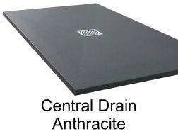 Shower tray 180 cm in resin, central evacuation  anthracite