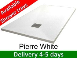 Shower tray 140 cm, in resin, small size and big size extra flat, Pierre white
