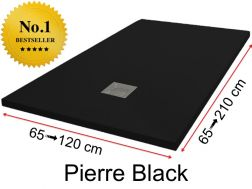 Shower tray 140 cm, in resin, small size and big size extra flat - Pierre black