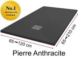 Shower tray 160 cm, in resin, small size and big size extra flat - Pierre anthracite