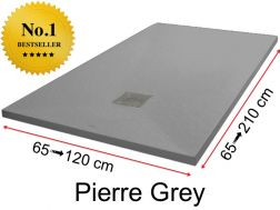 Shower tray 195 cm, in resin, small size and big size extra flat - Pierre grey