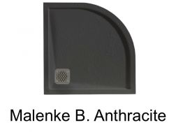 Quarter round shower tray, with overflow edge Malenke Q6 anthracite 90x90