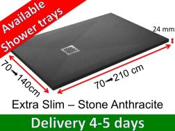 Shower tray 160 cm, in resin, small size and big size, extra flat, Extra Slim-Stone anthracite