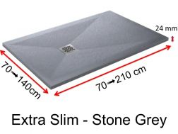 Shower tray 160 cm, in resin, small size and big size, extra flat, Extra Slim-Stone grey