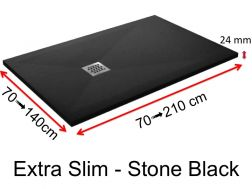 Shower tray 175 cm, in resin, small size and big size, extra flat, Extra Slim-Stone black