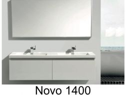 Hanging 140cm bathroom cabinet with four drawers and double washbasin, bright white - NOVO 1400