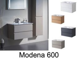Hanging bathroom cabinet with 60 cm ceramic bowl - MODENA 600