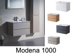Hanging bathroom cabinet with 100 cm ceramic bowl - MODENA 1000