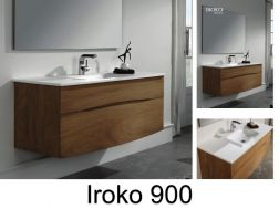 Iroko solid wood bathroom cabinet with a 90 cm bowl - IROKO 900