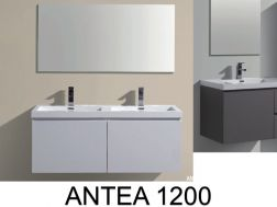 Bathroom cabinet in 120 cm, double basin, suspended, two shelves - ANTEA 1200