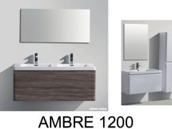 Bathroom cabinet to suspend, 120 cm, double bowl of 1200mm, two drawers - AMBRE 900