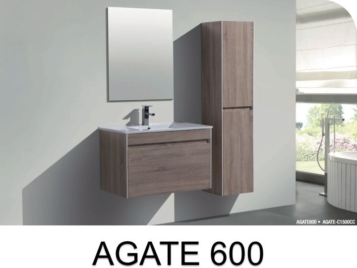 Beautiful Hanging Bathroom Cabinet, 60 Cm, With Washbasin And Mirror   AGATE 600