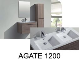 Hanging bathroom cabinet, 120 cm, with washbasin and mirror - AGATE 1200