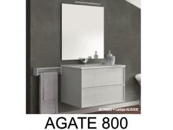 Hanging bathroom cabinet, 80 cm wide, with two drawers, washbasin and mirror - ALTAI 800