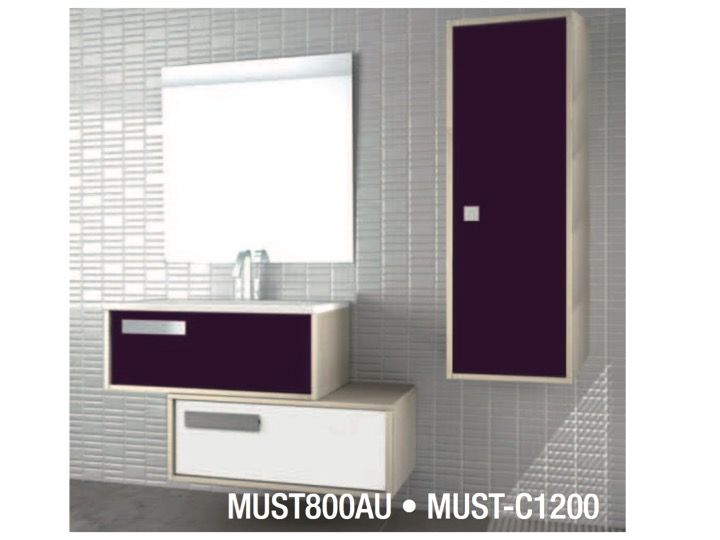 bathroom cabinet to hang two elements of 80 cm wide staggered with drawers