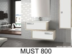 Bathroom cabinet to hang, two elements of 80 cm wide staggered, with drawers, washbasin and mirror - MUST 800