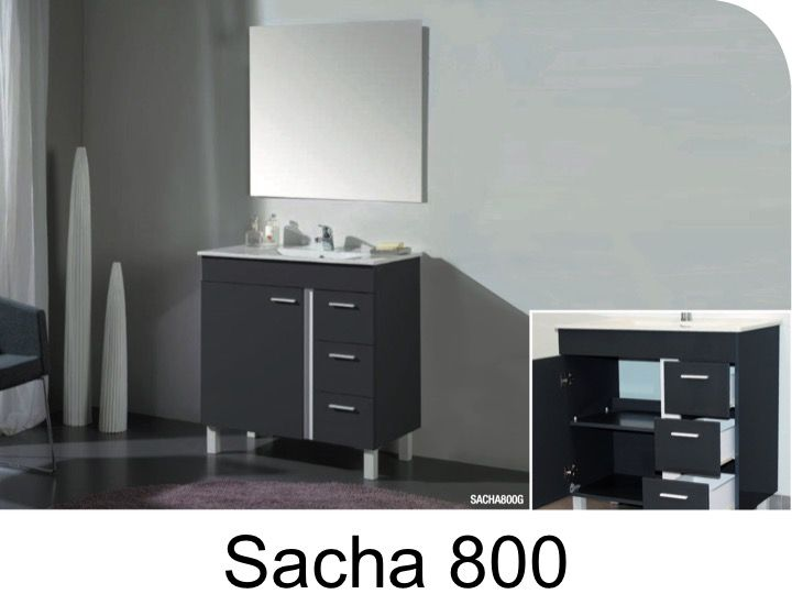 Bathroom Cabinet To Stand On Feet, 80 Cm, With Washbasin And Mirror   SACHA