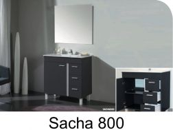Bathroom cabinet to stand on feet, 80 cm, with washbasin and mirror - SACHA 800