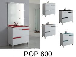 Bathroom furniture set, on feet, with washbasin and mirror - POP 800
