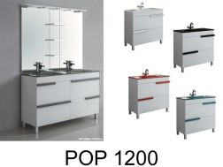Bathroom furniture set, on feet, with washbasin and mirror - POP 1200