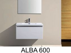 Hanging bathroom cabinet, with washbasin and mirror - ALBA 600