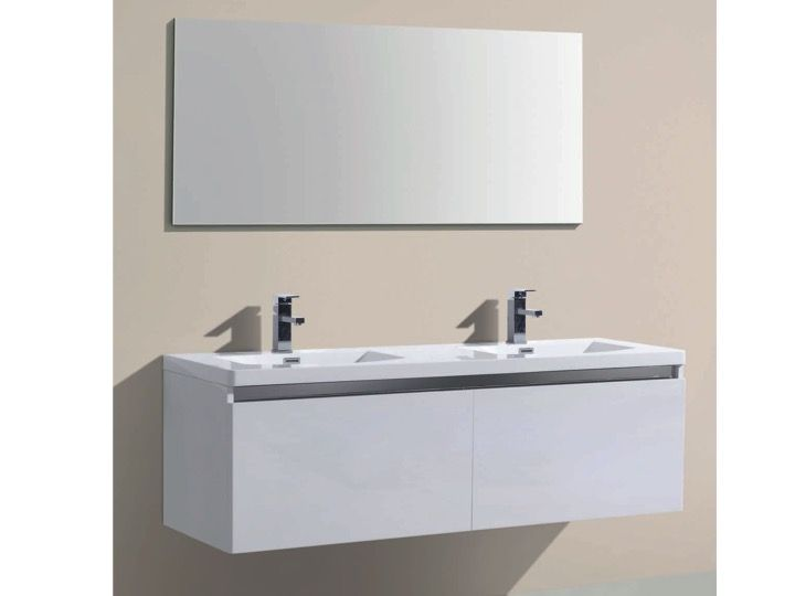 hanging bathroom cabinet with washbasin and mirror alba