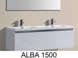Hanging bathroom cabinet, with washbasin and mirror - ALBA 1500