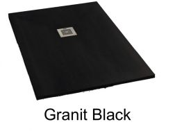 Shower tray 130 cm in marble mineral resin, small and large, extra flat - GRANIT black