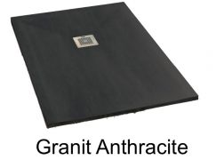 Shower tray 160 cm in marble mineral resin, small and large size, extra flat - GRANIT anthracite