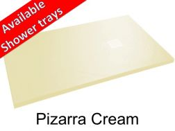 Shower tray 100 cm in mineral resin, slate effect - Pizarra cream
