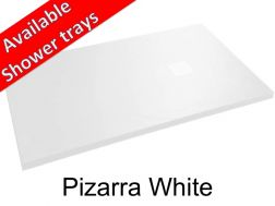 Shower tray 140 cm in mineral resin, slate effect - Pizarra white