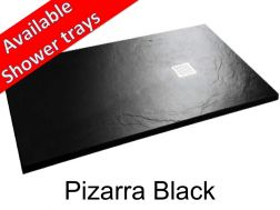 Shower tray 140 cm in mineral resin, slate effect - Pizarra black