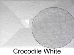 Shower tray 140 cm in marble mineral resin, small and large, extra flat - CROCODILE white