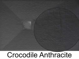 Shower tray 160 cm in marble mineral resin, small and large, extra flat - CROCODILE anthracite
