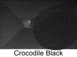Shower tray 180 cm in marble mineral resin, small and large, extra flat - CROCODILE black