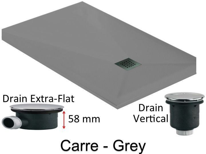 Extra Flat Shower Tray 100 Cm, Extra Flat Drain 58 Mm   CARRE Grey