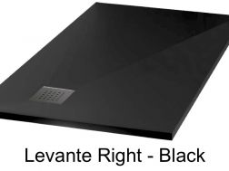 Shower tray 110 cm in mineral resin, angle drain, bung on the right - LEVANTE black