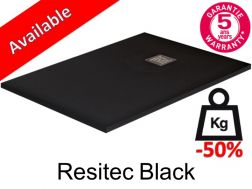 Shower tray 140 cm lightweight mineral resin, 50__percent__ less weight - Resitec black