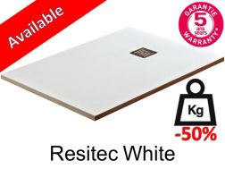 Shower tray 180 cm lightweight mineral resin, 50__percent__ less weight - Resitec white