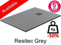 Shower tray 180 cm lightweight mineral resin, 50__percent__ less weight - Resitec grey