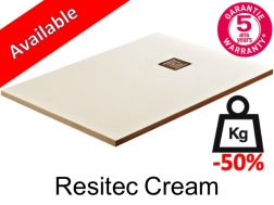 Shower tray 180 cm lightweight mineral resin, 50__percent__ less weight - Resitec cream
