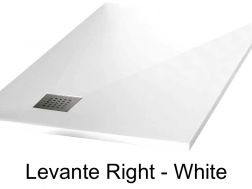 Shower tray 130 cm in mineral resin, angle drain, bung on the right - LEVANTE white