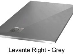 Shower tray 140 cm in mineral resin, angle drain, bung on the right - LEVANTE grey