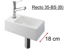 Toilet basin for toilet, evacuation concealed by a removable lid, depth 180 mm - RECTO 35BS (b) Benesan.
